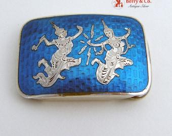 Siamese Belt Buckle Dancer Sterling Silver 925 Blue Enamel Vintage 1940s
