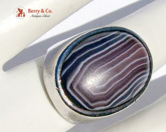 Large Bulky Agate Ring Sterling Silver
