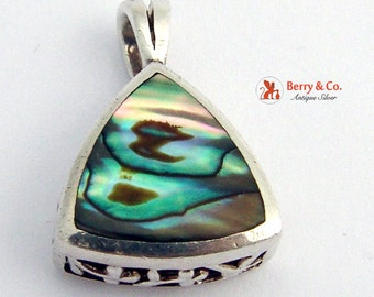 Triangular Pendant Sterling Silver Abalone Shell