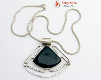 Modernist Necklace Pendant Onyx Sterling Silver