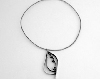 Abstract Leaf Necklace Pendant Sterling Silver