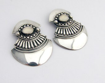 Moonstone Tribal Shield Earrings Sterling Silver