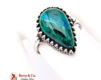 Azur Malachite Teardrop Ring Sterling Silver
