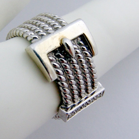 belt buckle ring sterling silver