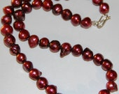 Chunky Burgundy Freshwater Pearls with Sterling Silver Clasp