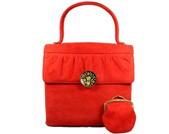 Vintage Carmine Red Suede Handbag with Enamel Clasp