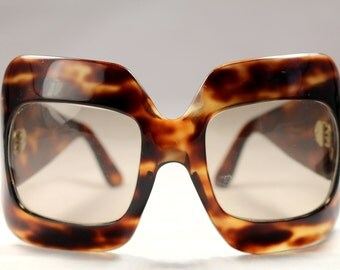 Vintage 60-70s Handmade XXL Sunglasses Michelangelo Tortoiseshell