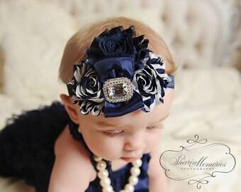 Navy Headband/Easter Headband/Pastel Headband/Infant Headband/Baby Headband/Newborn Headband/Toddler Headband/Girl Headband/Chevron Headband