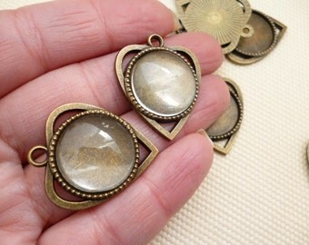 Set Heart Brass Cameo and Glass Cabochon_PA55856055_of:18mm_PACK 10 pcs