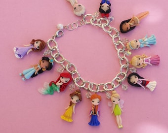 Bracelet with disney princesses in fimo, polymer clay