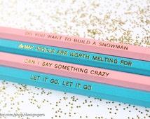 SALE, Quotes from Frozen, Set of 4 Pencils, Gold Foil Pencils, Frozen Party Favors, Engraved Pencils, Quote Pencils, Disney's Frozen
