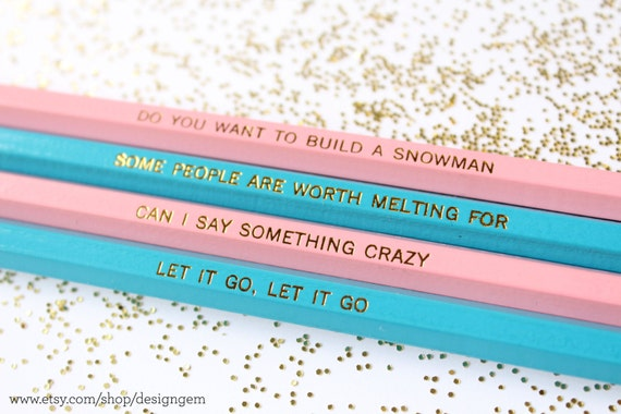 Quotes from Frozen, Set of 4 Pencils, Gold Foil Pencils, Frozen Party Favors, Pencils, Engraved Pencils, Quote Pencils, Disney's Frozen