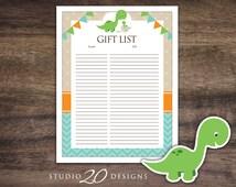 Instant Download Dinosaur Baby Shower Gift Registry, Printable Gift List, Teal Orange Dinosaur Theme Baby Shower Gift Tracking Sheet 59A