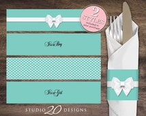 Instant Download Aqua Napkin Rings, Printable Aqua White Bow Baby Shower Napkin Wraparounds, Gender Neutral Napkin Rings 53A