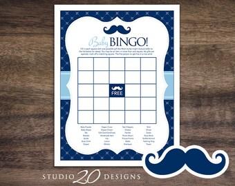 Instant Download Navy Mustache Baby Shower Bingo Game, Printable Mustache Baby Bingo, Navy Blue Moustache Theme Baby Shower Bingo Game 27B
