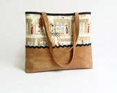 Cork Shoulder Bag - Paris Street Fashion Fabric Eco Friendly Neutral Colors Handbag