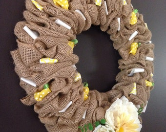 Spring is here Burlap Wreath