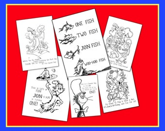 Dr. Seuss Personalized Coloring Book - Emailed To You As a PDF