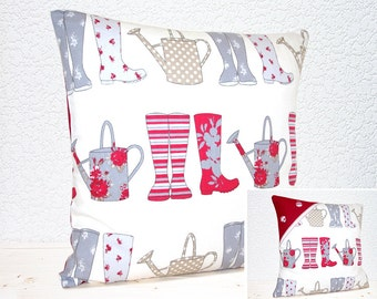 "Handmade 16""x16""  Gardening Chic Cotton Cushion Pillow Covers in Red Grey & White Wellies and Watering Cans Print by Ashley Wilde  (indoor)"