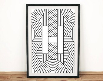 "Digital Download | Letter Print ""H"" | Initial Poster | Letter Print | Alphabet Print | Monogram Initial Print | Wall Art | Quote Art Print"