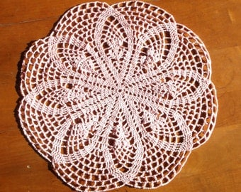 Crochet Doily in Rose Pink