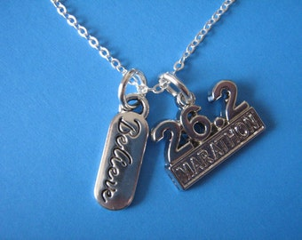 Marathon Necklace Inspirational Believe Charm Gift for a Runner