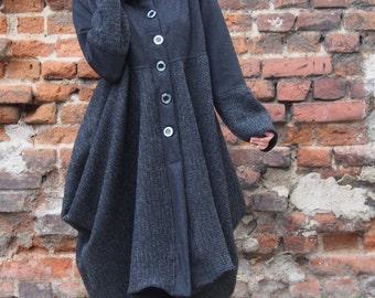 Asymmetric Extravagant Coat  Wool Cashmere Playful Long Coat & Nara DP008