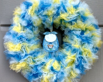 Welcome  Baby Tulle Wreath - Baby Boy