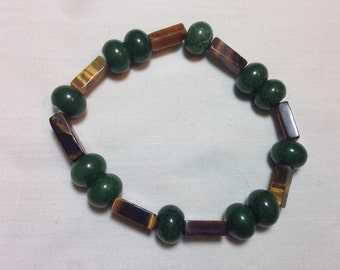 Jade and Tigers Eye natural stone bracelet