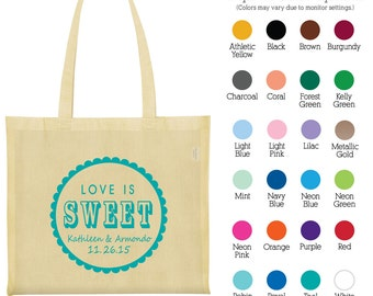Cotton Tote Bags (C1646) Love is Sweet - Custom Printed Bags - Wedding Favors - Personalized Canvas Bags - Wedding Tote Bags