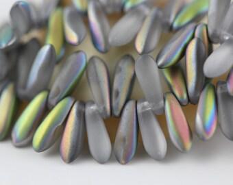 100 pcs.Czech Glass Dagger Beads 3x10mm : Matte-Vitrail Crystal