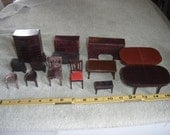 Plasco Mixed Lot Brown Dollhouse Miniature Toy Furniture 14 pce Bedroom Diningroom Vtg Ideal