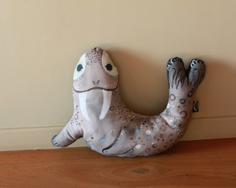 Hand Painted Walrus Pillow