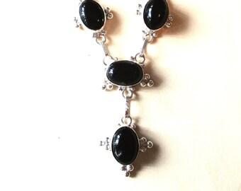 "Black Onyx Sterling Silver Cabochon Necklace - 18"""
