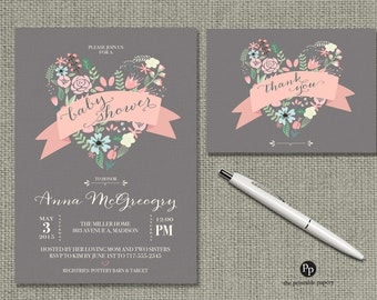Printable Baby Shower Invitation Card | Heart Shape Flowers Ribbon and Calligraphy Design | Customize | DIY - No. HRG2-2