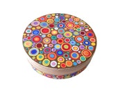 """Hand painted wooden trinket box """"Circles"""", jewelry storage, treasure box, wooden jewelry box, gift for Easter"""