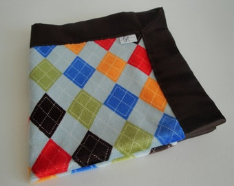 Argyle Minky with Brown Satin Back MINI Security Blanket