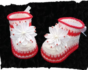 White with Red Baby Booties with bows .Knit Crochet Booties.Crochet shoes.