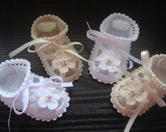 Christening Baby Booties-Sandals for baby girl.Cream or White crocheted summer booties with crystal rhinestone beads.