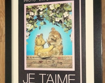 Teddy Bear wall art, Je Taime print -12''x16'' frame, comical teddy prints