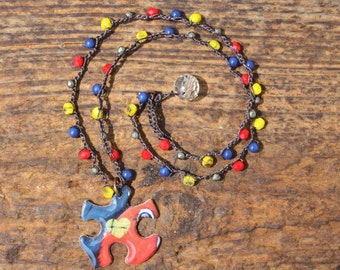 Autism Awareness Necklace...Puzzle Pendant with Beaded Crochet Chain