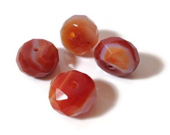 Natural Faceted Carnelian  Donut Stones 10x15