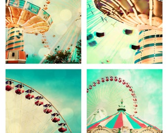 "Carnival Photography, Nursery Decor, Set of 4, Wall Art, Chicago, Ferris Wheel, Carousel, Navy Pier, Mint, Yellow, Pink, Aqua ""Carnival"""