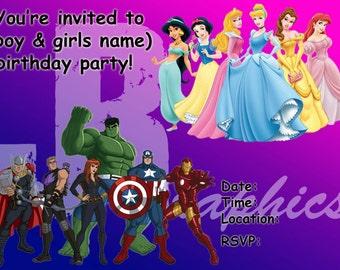 Dual Superhero/Princess Party Invitation