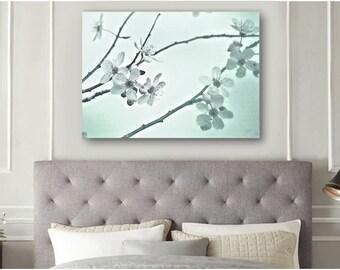 Large Wall Art - Cherry Blossoms Art Print - Aqua Blue and White Art