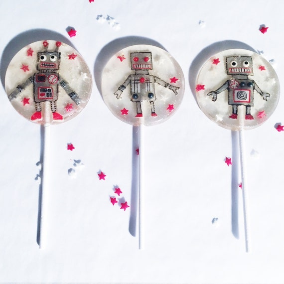 3 Vintage Toy Robot Pineapple Flavored Lollipops