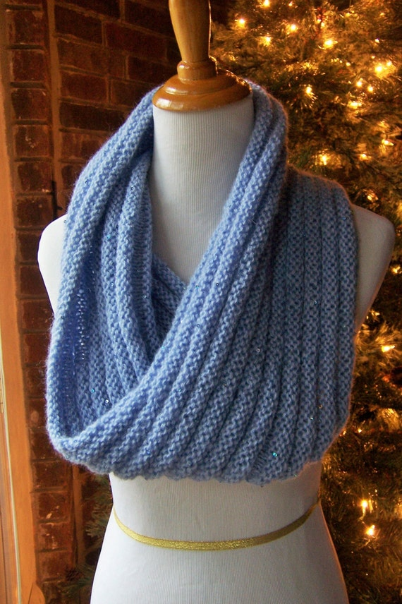 Knitting Pattern Cowl Shrug : Glitter Cowl / Shrug Hand Knit in Periwinkle Blue Acrylic