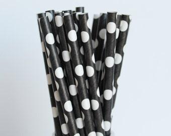 Black with White Polka Dot Paper Straws-Wedding Straws-Mason Jar Straws-Birthday Party Straws-Black and White Paper Straws-Polka Dot Straws
