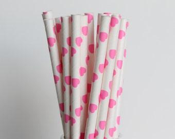 Hot Pink Heart Paper Straws-Hot Pink Straws-Heart Straws-Valentines Day Straws-Party Straws-Wedding Straws-Mason Jar Straws-Cake Pop Sticks