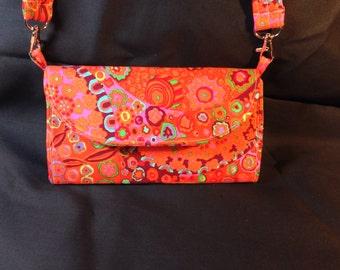 Multicolor Geometric Floral Organized Wallet Clutch Purse